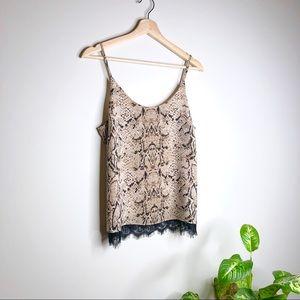 Rachel Zoe Tan Snake Skin Print Lace Trim Cami Top